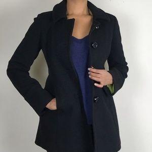 J. Crew Black Wool Pea Coat Style # 95841 Sz 6